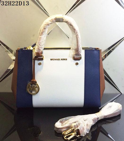 Michael Kors White&Sapphire Blue Leather Top Handle Bag