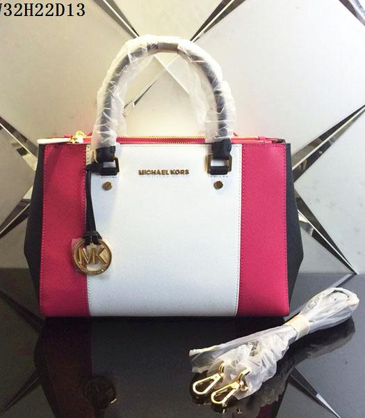 Michael Kors White&Rose Red Leather Top Handle Bag