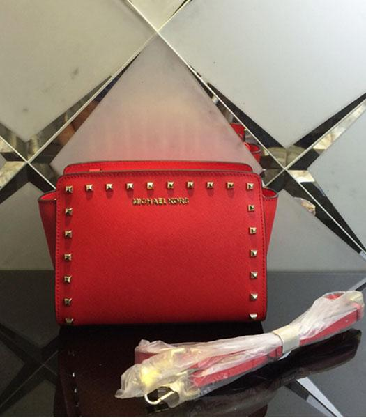 Michael Kors Selma Studded Small Messenger Bag Red