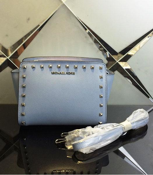 Michael Kors Selma Studded Small Messenger Bag Grey Blue