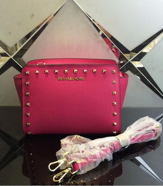 Michael Kors Selma Studded Small Messenger Bag Rose Red