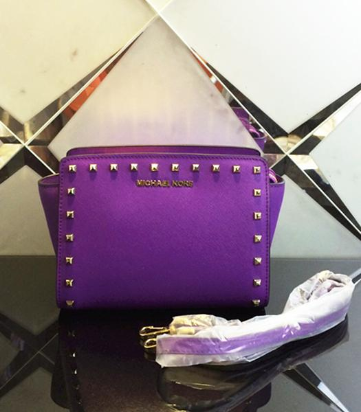 Michael Kors Selma Studded Small Messenger Bag Purple