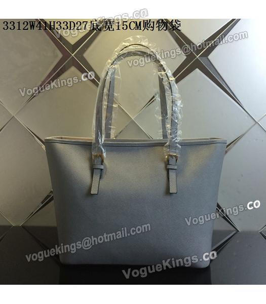 Michael Kors Grey Blue Leather Large Shopping Bag-2