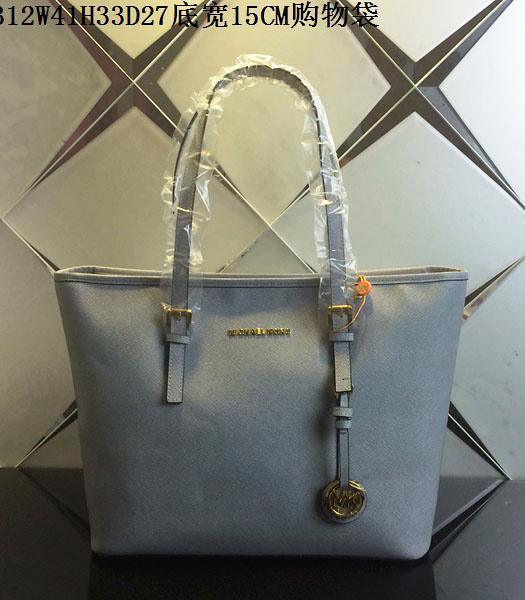 Michael Kors Grey Blue Leather Large Shopping Bag