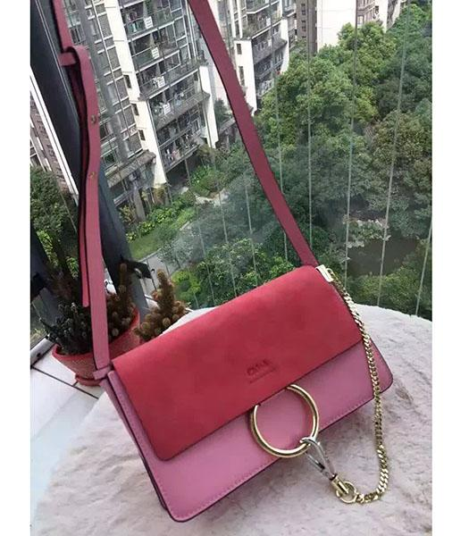 Chloe Faye Watermelon Red&Pink Leather Shoulder Bag Golden Chain