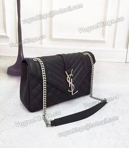 fe9aae06b6a1 ... YSL Monogramme 27cm Shoulder Bag Black Leather Antique Silver Chain-2  ...