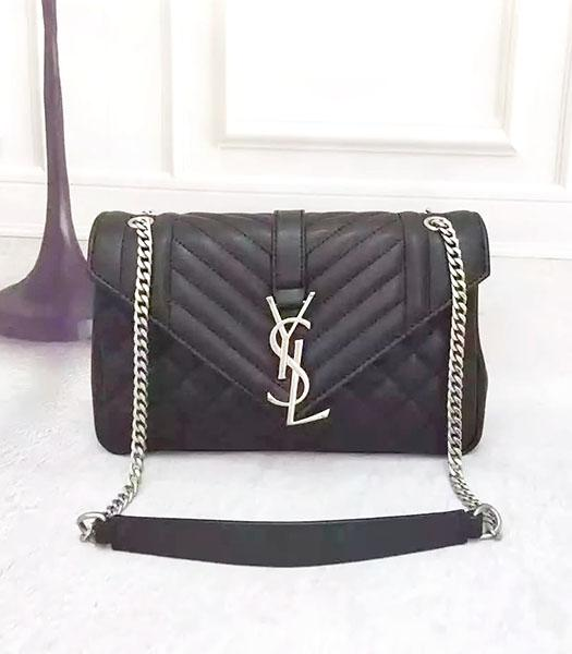 YSL Monogramme 27cm Shoulder Bag Black Leather Antique Silver Chain