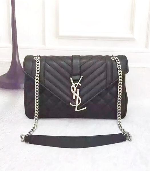 c4743b0a555e YSL Monogramme 27cm Shoulder Bag Black Leather Antique Silver Chain ...