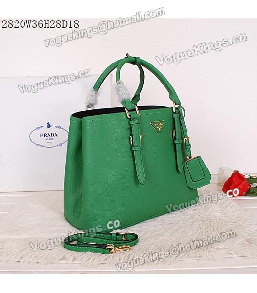 Prada Latest Green Leather Cross Veins Tote Bag_1