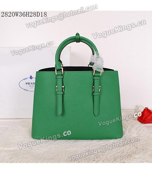 Prada Latest Green Leather Cross Veins Tote Bag_2