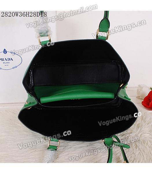 Prada Latest Green Leather Cross Veins Tote Bag_4