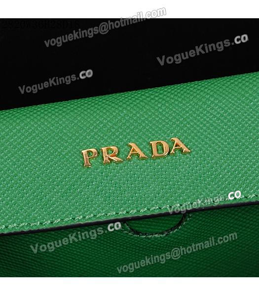 Prada Latest Green Leather Cross Veins Tote Bag_5