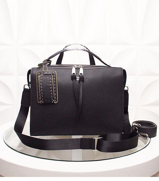 Fendi By The Way Black Leather Top Handle Bag