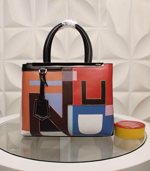 Fendi Latest Design Colorful Leather Top Handle Bag Brown
