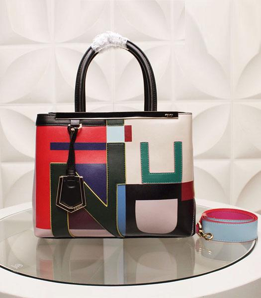 Fendi Latest Design Colorful Leather Top Handle Bag Green