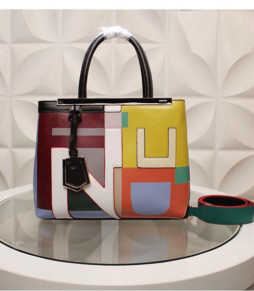 Fendi Latest Design Colorful Leather Top Handle Bag White