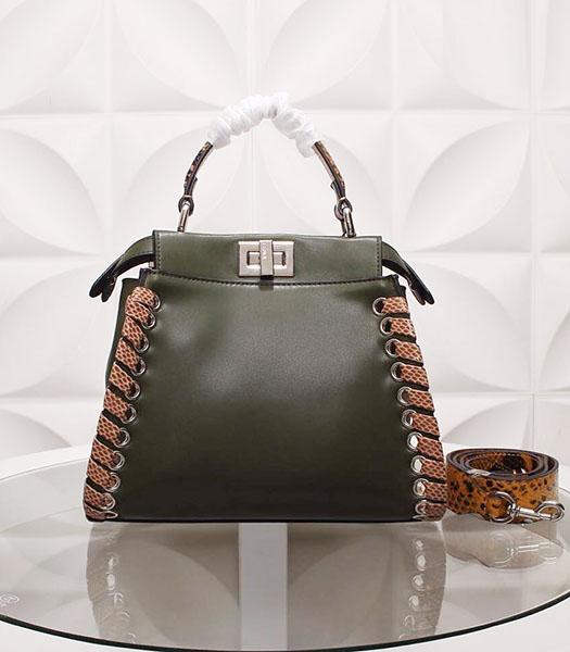 Fendi New Style Dark Green Leather Small Top Handle Bag