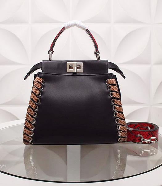 Fendi New Style Black Leather Small Top Handle Bag
