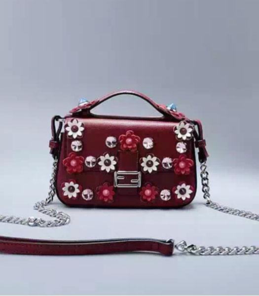 Fendi Mirco Double Baguette Jujube Red&Nude Pink Leather Flowers Small Bag