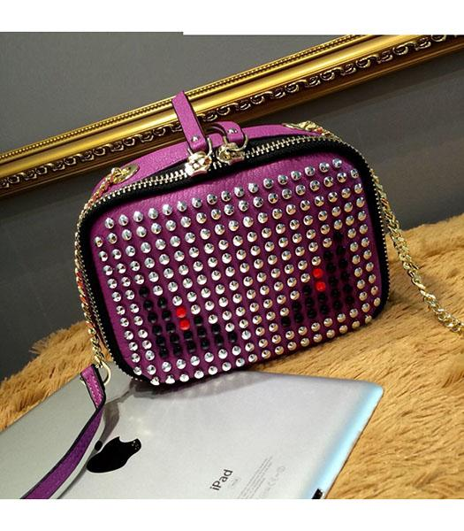 Fendi Monster Rivets Purple Leather Golden Chains Small Bag