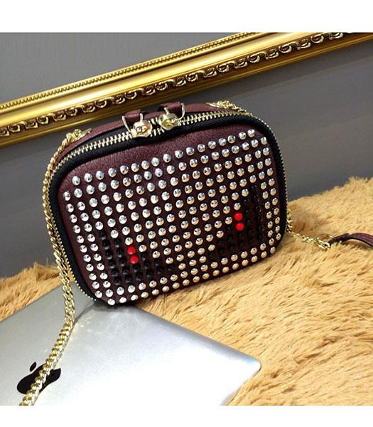 Fendi Monster Rivets Jujube Red Leather Golden Chains Small Bag