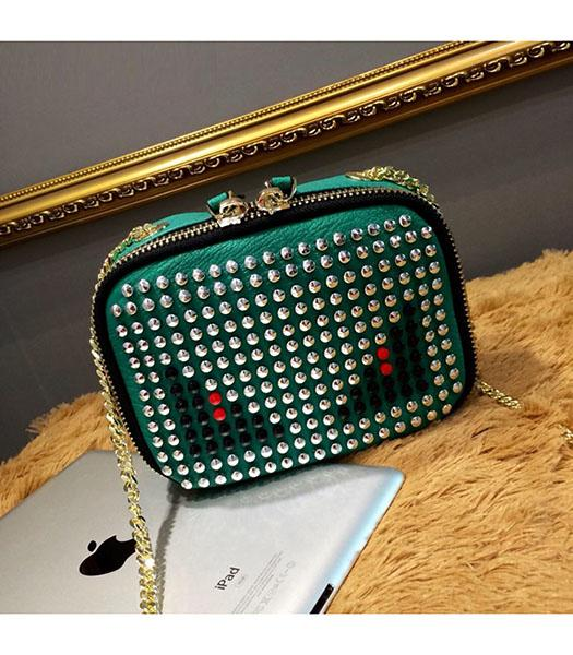 Fendi Monster Rivets Green Leather Golden Chains Small Bag