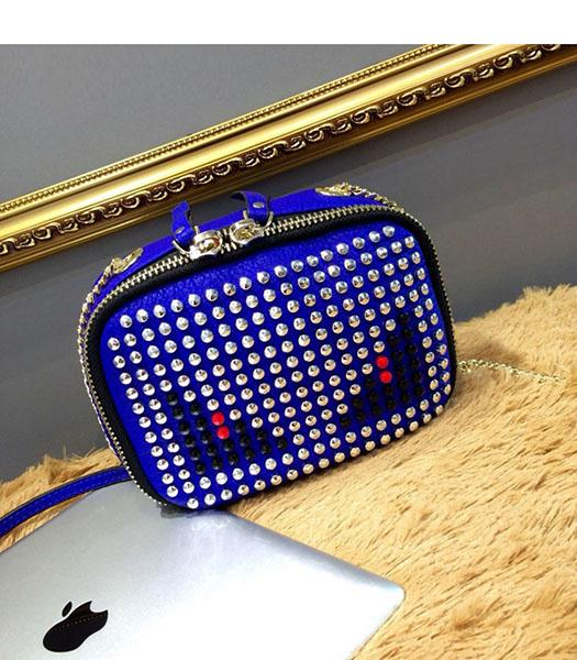 Fendi Monster Rivets Electric Blue Leather Golden Chains Small Bag