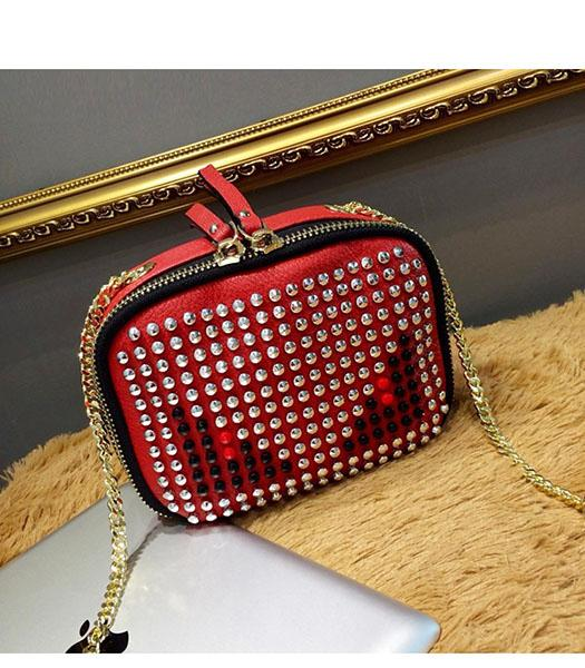 Fendi Monster Rivets Red Leather Golden Chains Small Bag