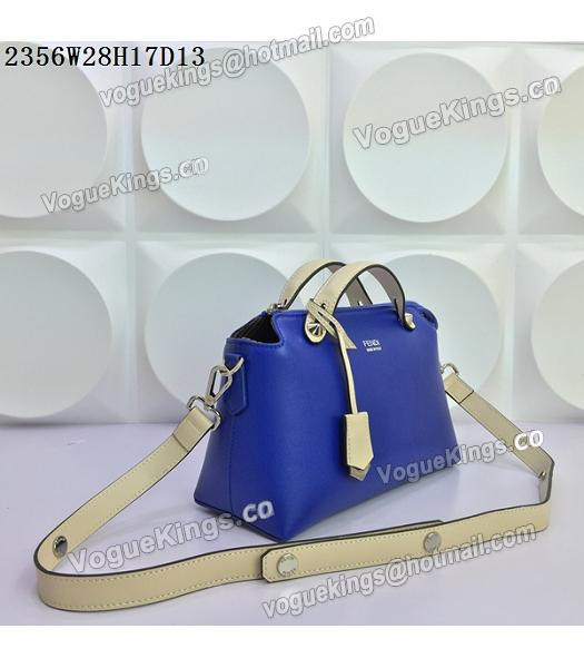 Fendi By The Way Sapphire Blue&Offwhite Leather Small Shoulder Bag 2356-1