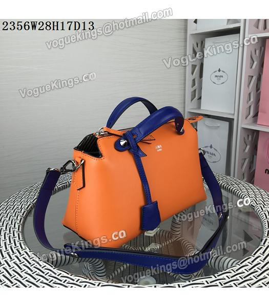 Fendi By The Way Small Shoulder Bag 2356 Orange&Sapphire Blue Leather-1