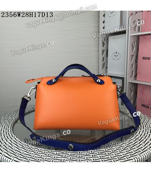 Fendi By The Way Small Shoulder Bag 2356 Orange&Sapphire Blue Leather-2