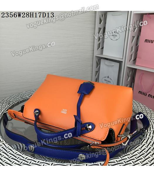 Fendi By The Way Small Shoulder Bag 2356 Orange&Sapphire Blue Leather-4