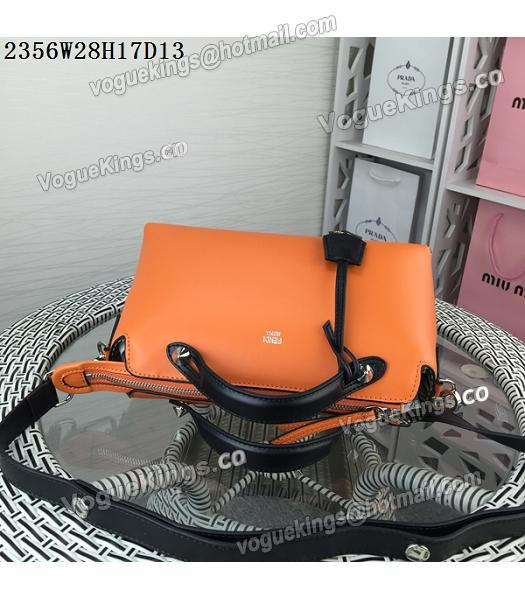 Fendi By The Way Small Shoulder Bag 2356 Orange&Black Leather_4