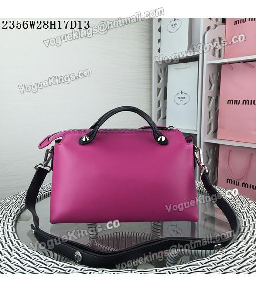 Fendi By The Way Rose Red&Black Leather Small Shoulder Bag 2356-2