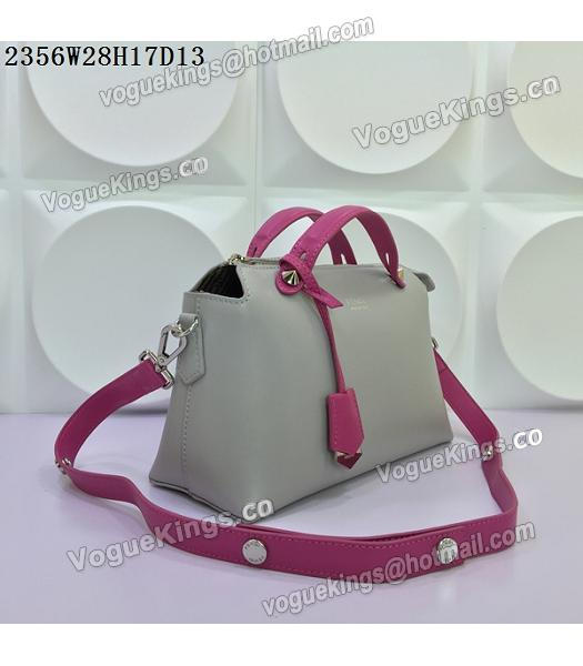 Fendi By The Way Small Shoulder Bag 2356 Grey&Rose Red Leather-1