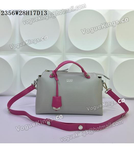 Fendi By The Way Small Shoulder Bag 2356 Grey&Rose Red Leather-4