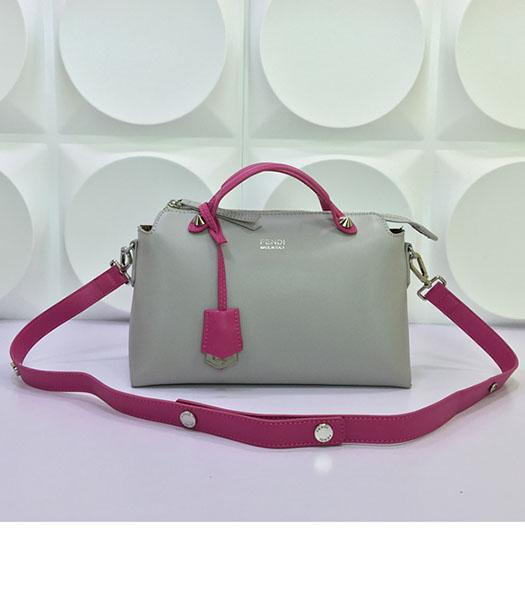 Fendi By The Way Small Shoulder Bag 2356 Grey&Rose Red Leather