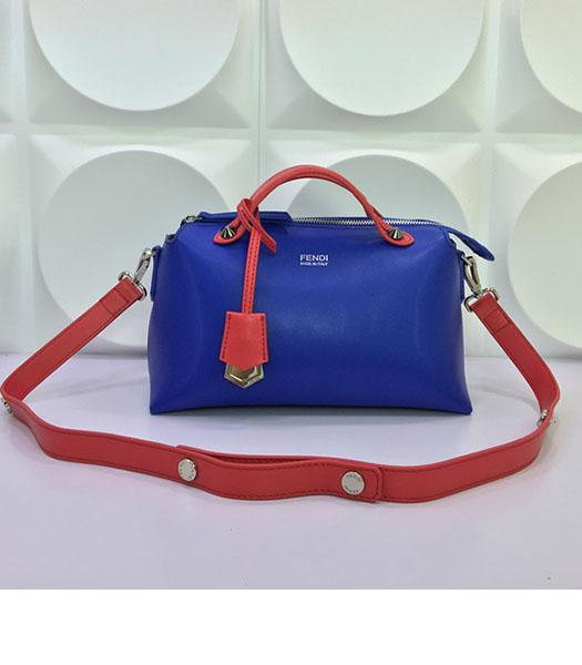 Fendi By The Way Sapphire Blue&Red Leather Small Shoulder Bag 2356
