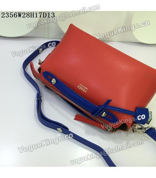 Fendi By The Way Small Shoulder Bag 2356 Red&Sapphire Blue Leather-4
