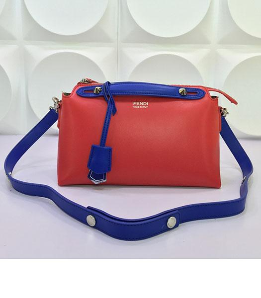 Fendi By The Way Small Shoulder Bag 2356 Red&Sapphire Blue Leather
