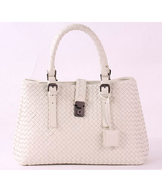 Bottega Veneta Imported Sheepskin Leather Woven Tote Bag Offwhite