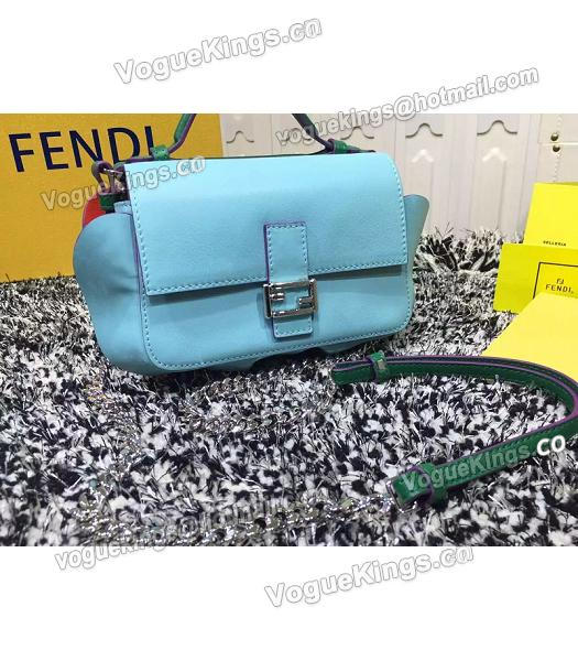 Fendi Mirco Double Baguette Blue&Green Leather Shoulder Bag-1