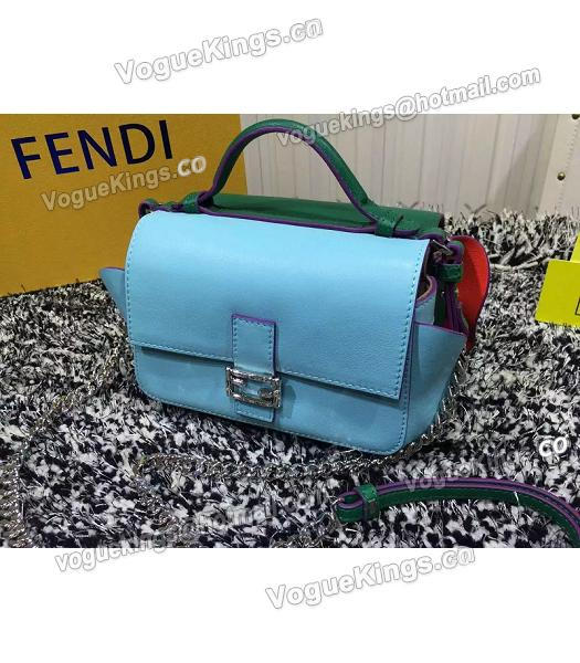 Fendi Mirco Double Baguette Blue&Green Leather Shoulder Bag-2