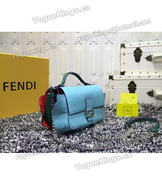 Fendi Mirco Double Baguette Blue&Green Leather Shoulder Bag-3