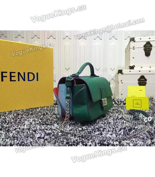 Fendi Mirco Double Baguette Blue&Green Leather Shoulder Bag-4
