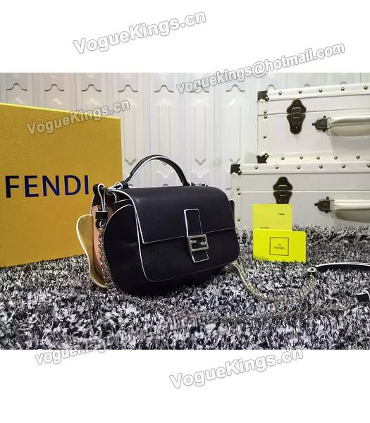 Fendi Mirco Double Baguette Black&Pink Leather Shoulder Bag-3