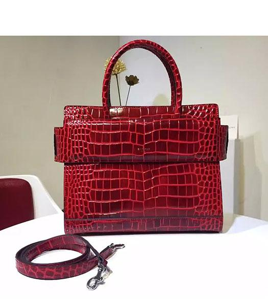Givenchy Horizon 28cm Red Leather Croc Veins Top Handle Bag