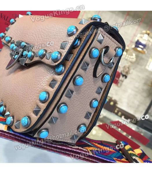 Valentino Rockstud Rolling Turquoise Bag Khaki Calfskin Leather Silver Nail-4