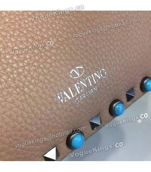 Valentino Rockstud Rolling Turquoise Bag Khaki Calfskin Leather Silver Nail-5