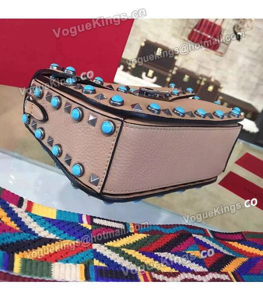 Valentino Rockstud Rolling Turquoise Bag Khaki Calfskin Leather Silver Nail-6